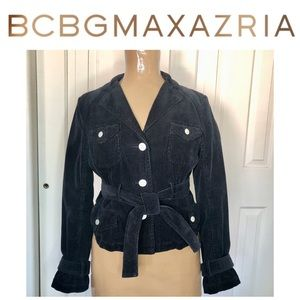 BCBG MAXAZRIA Retro Black Corduroy Jacket Sz Med